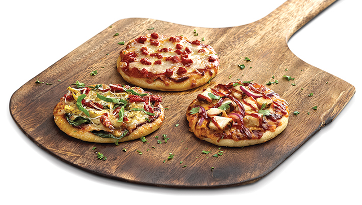 Tres mini Pizzas, perfecto para compartir. Puedes seleccionar 3 de nuestras 5 especialidades.